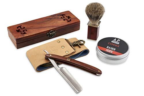 A.P. Donovan Damast Rasiermesser Set mit persönlicher GRAVUR | Rasierpinsel Rasierseife und Streichriemen (Damast mit Gravur)