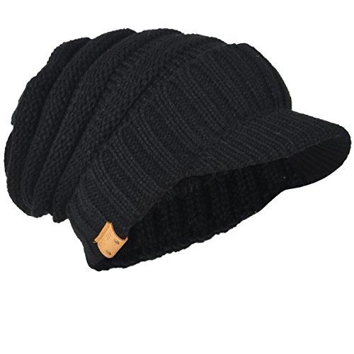 HISSHE Gorro de punto grueso para hombre Newsboy Cap Visor Beanie Hat Fleece Forrado Multicolor B319
