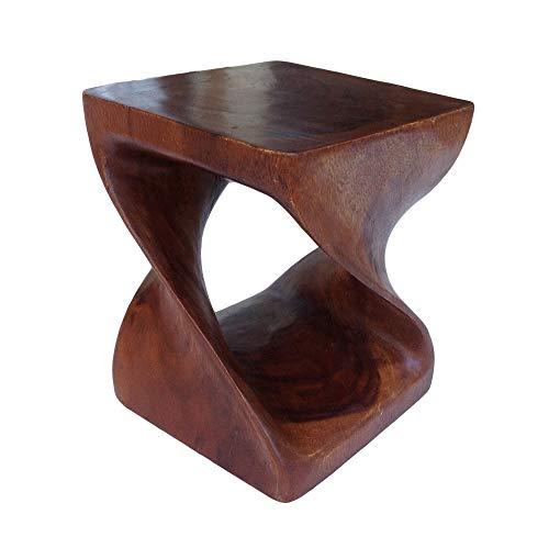 Asian Oriental double Twist alto 76,2/cm in legno massiccio cocktail sgabello da bar ~ ~ Round top tavolino tavolino ~ Corner display stand by Collumino Caramel Brown