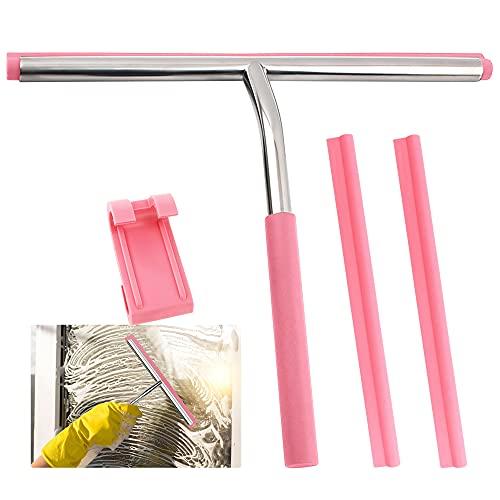 Rasqueta limpiacristales de ducha, herramienta de limpieza de ventanas, de acero inoxidable, con mango y soporte de gancho, para baño, ventanas, cristal (rosa)