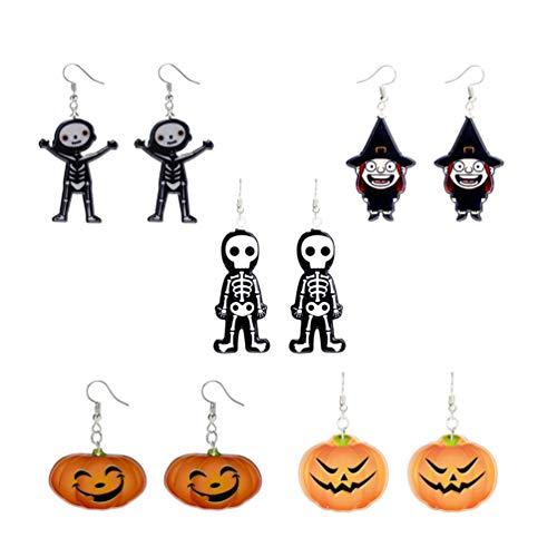 STOBOK 5 paia di orecchini divertenti di halloween orecchini a forma di zucca con scheletro fantasma di streghe per donne ragazze donne
