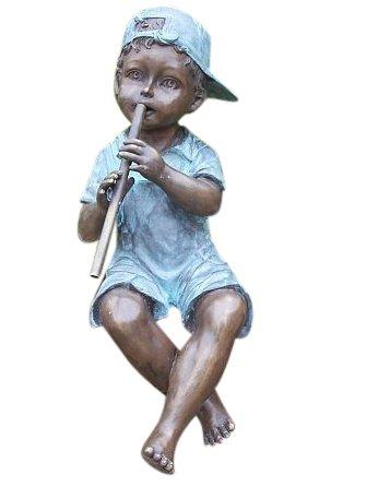Steinfiguren Horn Flötenspieler Junge, Figur aus Bronze, als Wasserspeier einsetzbar