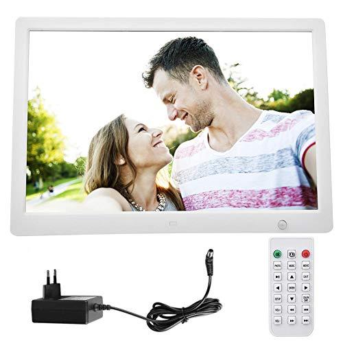 FastUU 15.4 in Digitaler Bilderrahmen, Bewegungserkennung Digitaler Fotorahmen Eingebautes Stereo-Audio, Unterstützung für elektrisches HD-Display 1080P Video, Bild, Wecker, Kalender(Weiße)