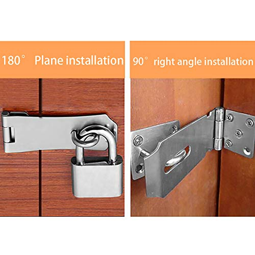 Product Image 3: Alise MS9-3A Padlock Hasp Door Clasp Hasp Lock Latch SUS 304 Stainless Steel Brushed Nickel