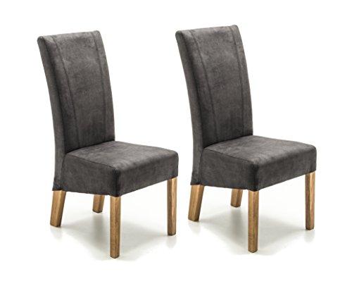 Robas Lund Stühle 2er Set Anthrazit, Küchenstuhl mit Stoffbezug, Stuhlbeine Massivholz Eiche geölt, Stuhl Fidelio