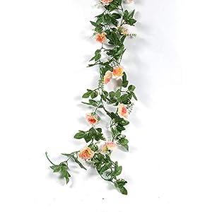 Silk Flower Arrangements yuanyuxi Decorative Flower Vine Home Artificial Flower Rose Vine Living Room Balcony Decoration Fake Flower Rattan Artificial Flower@10 Azaleas - Champagne