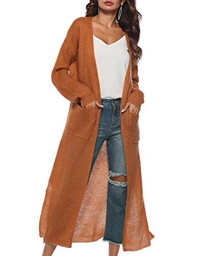 Womens Cardigans Solid Color Winter Autumn Soft Lightweight Open Cardigan Long Sleeve Floor Length Long Maxi Cardigan Sweater Ribbed Knit Cardigan Coat Long Duster