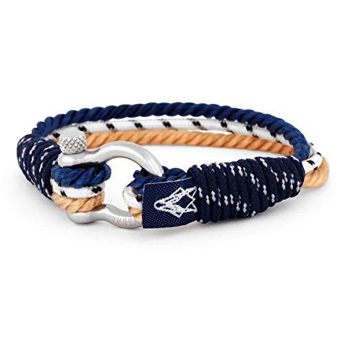 Akitsune Princeps Maritimes Herrenarmband Damenarmband Modeschmuck Maritim Freundschaftsarmband Segeltau Nautisch Anker - Silber - Beige- Blau 17cm