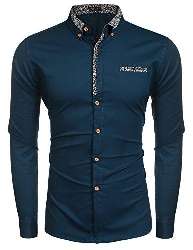 Coofandy Coofandy Herren Bügelleicht Hemden Modern Langarmhemd Business Hochzeit Freizeit Slim Fit kentkragen Hemd (M, Z-Grün),M,55-grün