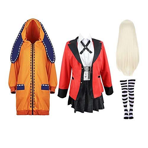 Anime Kakegurui Yomoduki Runa Cosplay Costume Outfit Compulsive Gambler Full Set with Wig Role Playing Costume Girls Women, Red-L