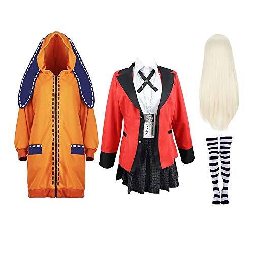 Anime Kakegurui Yomoduki Runa Cosplay Costume Outfit Compulsive Gambler Full Set with Wig Role Playing Costume Girls Women, Red-S