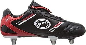 Optimum Unisex Junior Tribal Rugby/Football Boots - Black/Red, 2 from Optimum