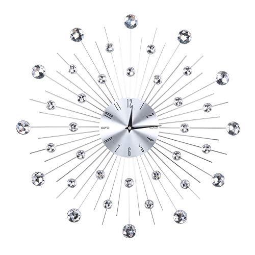 Orologio da parete grande e scintillante, in metallo con diamanti 3D, moderno orologio decorativo per soggiorno, camera da letto, ufficio, decorazione