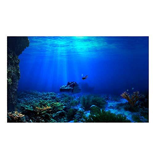 Aquarium achtergrond HD onderlaag Coral Reef Foto Fotobehang Aquarium vis zee muurschildering XXL onderlaag Underwater Mondo wand decoratie (122 x 61 cm)