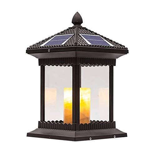 Suave, no deslumbrante Column headlight Chino control remoto columna solar faros, Columna china del jardín al aire libre retro luz de la linterna de aluminio Pilar remoto Luz del paisaje impermeable