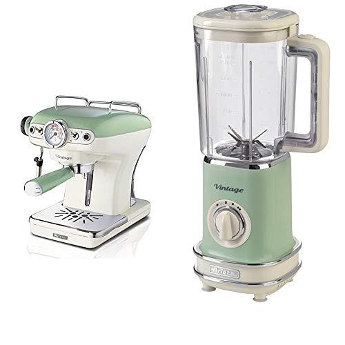 Ariete 1389 caffè espresso vintage - macchina per caffè espresso per polvere o cialda ese & 568 frullatore vintage, frullatore con 500 watt e tazza graduata da 1,5 litri