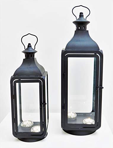 Lot de 2 lanternes hautes - En métal et en verre - Noires