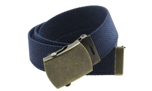 """Canvas Web Belt Military Style with Antique Brass Buckle and Tip 50"""" Long (Navy)"""
