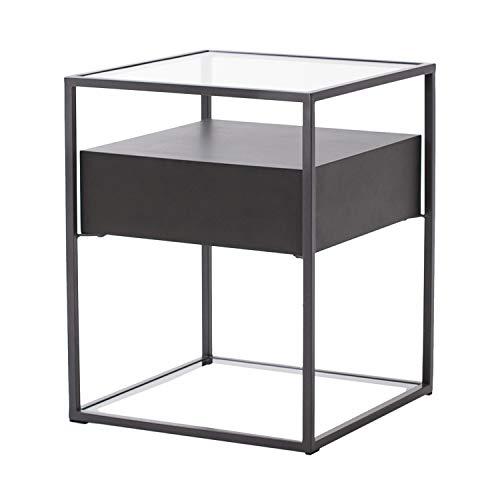 Damiware Baily Design Nachttisch/Glastisch/Beistelltisch/Sofatisch/Kaffeetisch aus Metall (Schwarz), Glas & Holz (Schwarz) | Kleiner Wohnzimmertisch/Couchtisch in 40x40x54 cm eckig (Schwarz)