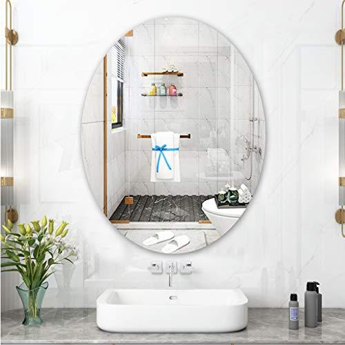 Espejo de baño Espejo Ovalado De Pared Espejo Sin Marco, Dormitorio/Sala De Estar A Prueba De Explosiones Moderno, Espejo De Vanidad HD, Espejo De Afeitar - con Accesorios De Montaje En Pared
