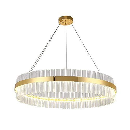 Dimmbar LED Pendelleuchte Kristalllampe Luxuriös Kristall Lampenschirm Hängelampe Gold Ring Runden Kronleuchter für Wohnzimmer Schlafzimmer Küche Esszimmer Esstisch Halle Büro Höhenverstellbar, D60CM