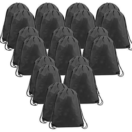 BeeGreen Black 30 Pack Gym Drawsting Bags for Sport Storage 13.5 x 16-Inch Drawstring Backpack Bulk Cinch Bags for Men Women Teens