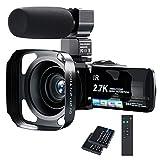 ビデオカメラ Rosdeca 2.7k デジタルビデオカメラ HD 3600万画素 16倍ズーム ウェブカメラ機能 IR赤外線暗視機能 最大128GB対応 デジタル補正 外部マイク 手持ちスタビライザー 予備バッテリーあり 日本語システム
