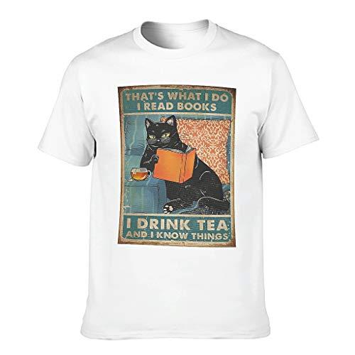 Camiseta de manga corta para hombre con diseño de gato negro y texto en alemán 'Ich lese Libros Trinke ich Tee Ich weiß Dinge Print Tribal Workwear blanco XXXXXXL
