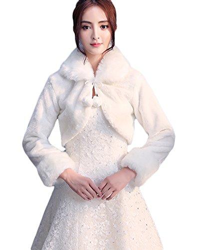 Icegrey Donna Coprispalle Con Pon Pon Per Sposa Scialli de pelliccia ecologica Inverno Avvolgere Cappotto Bianco Avorio