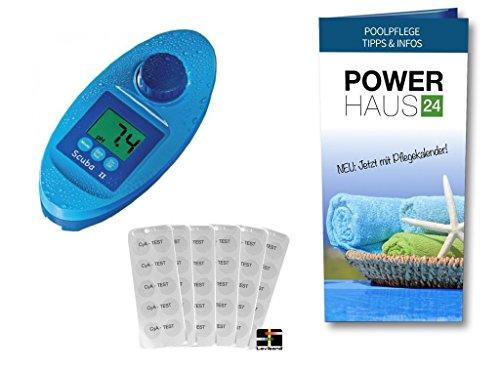 Scuba II - Photometer - Elektronischer Pooltester - neue Version - für Chlor und pH-Wert Messung - mit POWERHAUS24 Pflegefibel - für private Pools- und WhirlPools