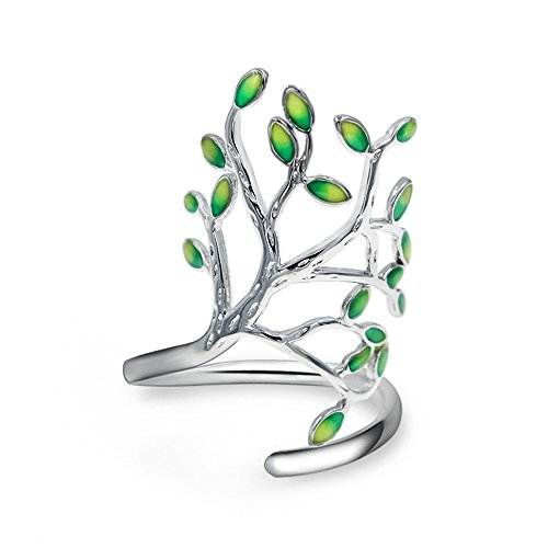 Uloveido Leaf Green Ringent Adjustable Size Fashion Rings for Summer Women Girls with Open Tree Shape HR303