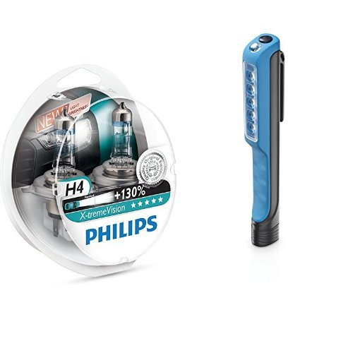 Philips X-tremeVision +130% 12342XV+S2 Scheinwerferlampe, H4, 2er-Set + Philips LPL18B1 LED-Arbeitsleuchte Penlight