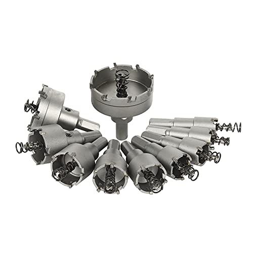 CML 10pcs 16-50mm HSS Hole Saw Drills Bit Cutter For Stainless Steel Plate Iron Drilling Alloy Metal Cutting Tungsten Steel Hole Saw (Color : Silver)