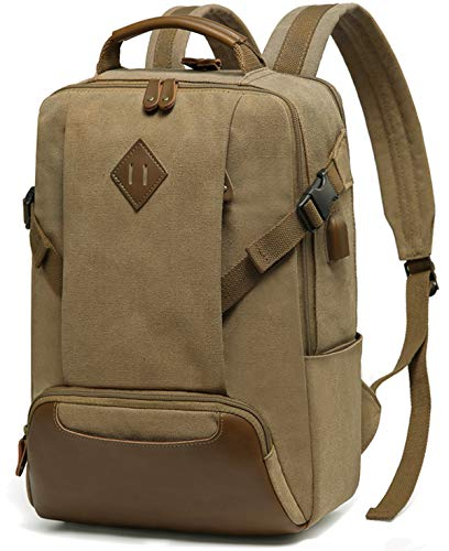Vintage School Backpack, Kasqo Water-Resistant Canvas 15.6 inch Laptop Backpack with USB Charging Port