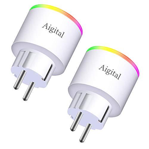 Aigital WLAN Steckdose Intelligente Steckdose WiFi Steck Smart Plug 16A Kein Hub Rrforderlich Fernbedienbar und Sprachsteuerung, Timer Funktion Stromverbrauch messen- 2.4GHz