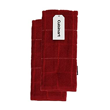 Cuisinart 100% Cotton Terry Super Absorbent Kitchen Towel, Stitch Grid Design, Brick Red- 2pk, Perfect for Drying Dishes & Hands, Machine Washable