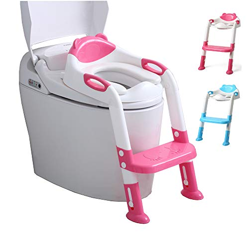 EGREE Potty Training Toilet Chair Seat with Step Ladder for Kids and Toddler Boys Girls - Soft Padded Seat with Foldable Wide Step and Safety Handles - Rose Red and White
