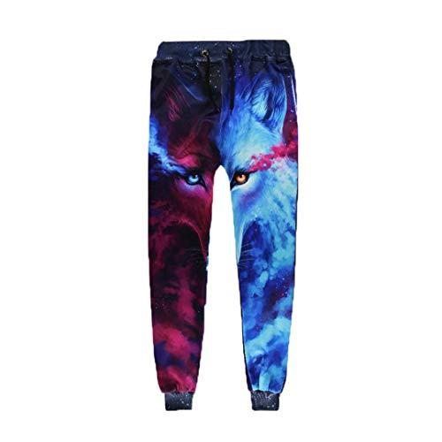 Casual Harem Pants Men Joggers Trousers Harajuku Anime Blue Wolf 3D Print Sweat Hip Hop Fitness Sweatpant S