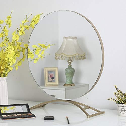 Yiwen Redondo Delicado Espejo para maquillarse,Escritorio Espejo de Mesa,HD Espejo de Maquillaje,Espejo de pie con un Marco de Metal,se Puede Usar en la Sala de Estar el Dormitorio el vestidor