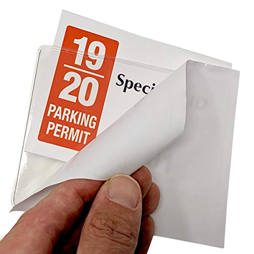 2 Pack - Parking Permit Holder for Car Windshield - Clear Adhesive Parking Tag Pouch - Vinyl Plastic Document Protector Holds Large Parking Placard, Pass, Decal or Sticker (4 x 3) by Specialist ID Photo #3