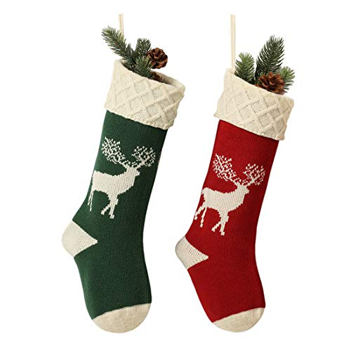Christmas Stockings, Knitted Reindeer Pattern Xmas Stockings Traditional Hanging Socks Ornament for Family Holiday Party Decorations 46CM
