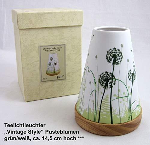 Hellmann Versand GmbH Teelichtleuchter Vintage Style Pusteblumen grün/weiß ca. 14,5 cm hoch