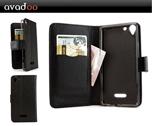 avadoo® Archos Wiko Selfy 4G Flip Hülle Cover Tasche Schwarz mit Magnetverschluss & Dualnaht als Cover Tasche Hülle