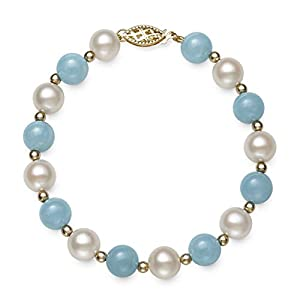 14k Gold Cultured Freshwater Pearl and Natural Aquamarine Gemstone Bracelet, 7.5""