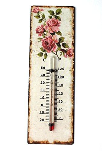 Unbekannt Thermometer 25 cm C und F Blechschild mit Rosen Antik Landhaus Shabby Chic