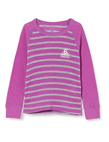Odlo Camiseta Interior Unisex Infantil Bl Top Crew Neck L/S Active Warm Kids, Unisex niños, Camiseta, 10459, Morado Hyacinth - Gris Mezcla - Rayas, 152