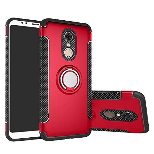 LFDZ Xiaomi Redmi 5 Plus Hülle, 360 Rotation Verstellbarer Ring Grip Stand,Ultra Slim Fit TPU Schutzhülle für Xiaomi Redmi 5 Plus {Not fit Redmi 5 / Redmi Note 5} (mit 4in1 Geschenk Verpackt),Rot
