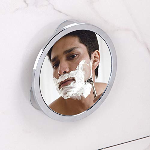 iDesign douchespiegel met zuignap, kleine condensvrije douchespiegel van verchroomd metaal, ronde scheerspiegel voor badkamer en douche, zilverkleurig