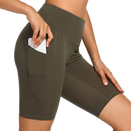 WOWENY Yoga-Shorts für Damen, hohe Taille, Bauchkontrolle, Workout, Yoga, Lauf-Shorts, 20,3 cm, Hose mit Seitentaschen Gr. XX-Large, Army Grün