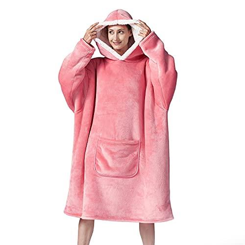 Hansleep Plaid Sweat à Capuche, Pull Polaire Femme Homme, Flannel Blanket Hoodie, Wearable Couverture Sherpa Adulte avec Manche et Poche, Géant Chaud Doux - Rose (Oversize)